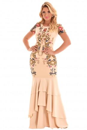vestido longo bege sereia barra babados busto rendado e bordado pedrarias decote gota festa fascinius frente