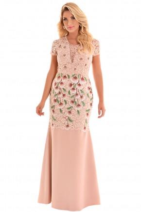 vestido longo rose rendado estampa floral busto bordado pedrarias manga curta festa fascinius frente