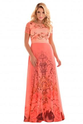 vestido longo laranja estampa floral e animal print busto bordado e rendado manga renda festa fascinius frente