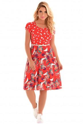 vestido evase vermelho estampa floral e passaros manga curta com cinto fascinius frente fileminimizer