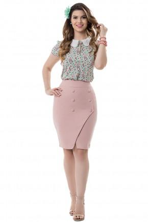 conjunto blusa estampa floral gola peter pan saia justa la pis rose assime trica boto es bella heranc a frente