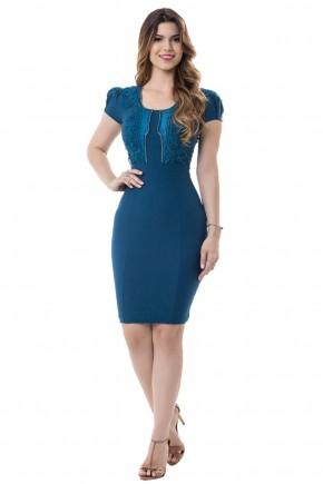 vestido tubinho azul royal bordado guipir e strass manga curta bella heranc a frente