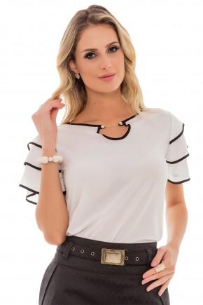 blusa off white detalhes pretos manga curta babados decote corrente via tolentino frente