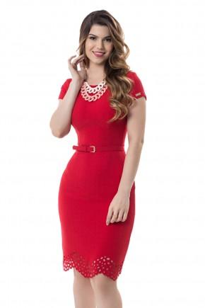 vestido tubinho vermelho manga curta barra vazada assime trica com cinto bella heranc a frente