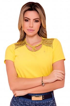 blusa amarela bordada pedrarias decote vazado via tolentino frente