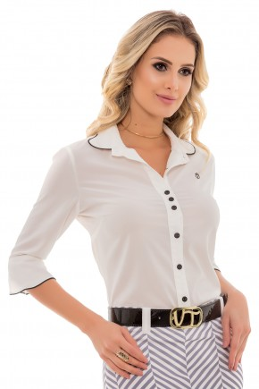camisa off white manga sino detalhes em preto botoes via tolentino frente