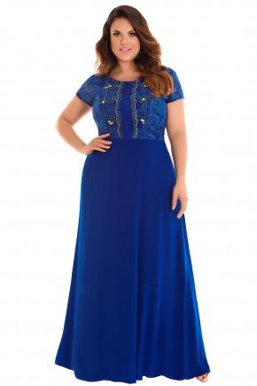vestido longo azul royal plus size busto bordado pedrarias e guipir festa fascinius frente