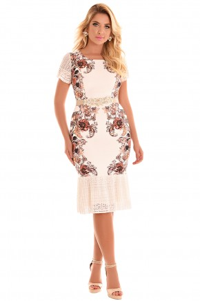 vestido sino off white estampa floral e abstrata barra e mangas renda com cinto fascinius frente