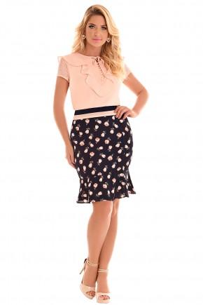 conjunto blusa rose gola babados botoes e amarracao manga renda saia azul escuro sino estampa floral fascinius frente