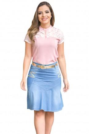 saia jeans clara justa tradicional recortes frontais aplicac o es em dourado larerais com cinto raje frente