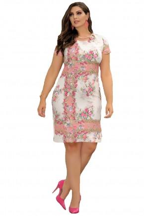 vestido floral rosa decote vazado cassia segeti frente