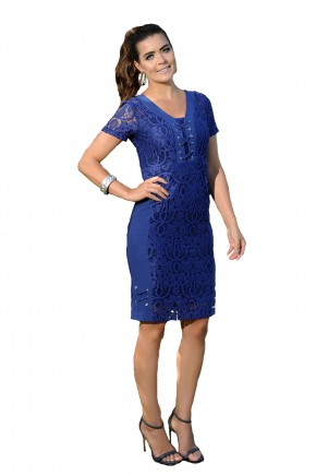 vestido azul royal bordado cassia ceseti frente