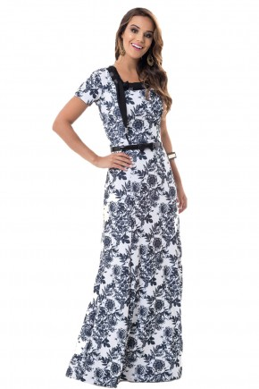 vestido floral preto bella heranca branco frente