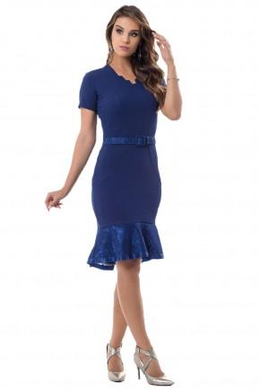 vestido azul babado cinto bella heranca frente